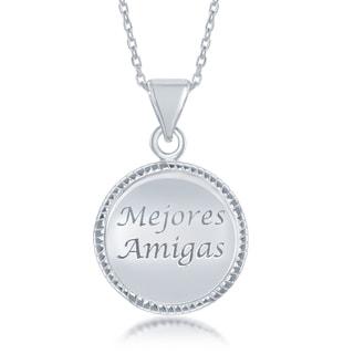 La Preciosa Sterling Silver Spanish Engraved Circle Disc Pendant