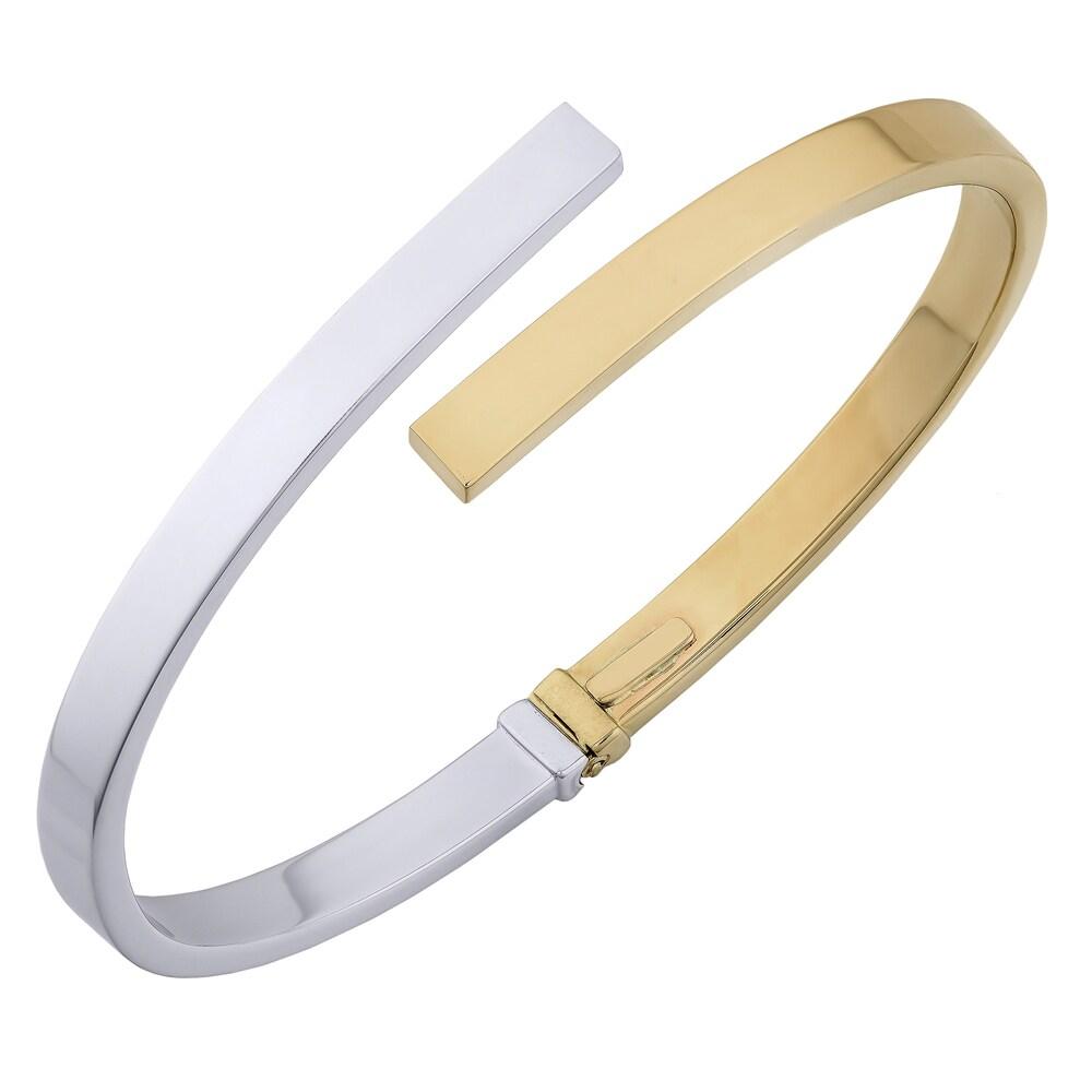 Fremada Italian 14k Two-Tone Gold 5-mm High Polish Bypass Bangle Bracelet (two-tone gold)