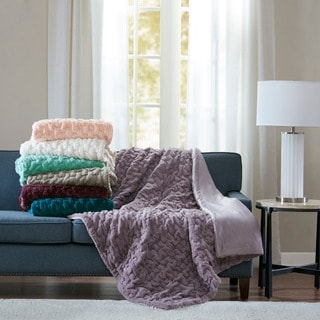 Link to Madison Park Ruched Fur Solid Brushed Long Fur Knitted Throw Similar Items in Blankets & Throws