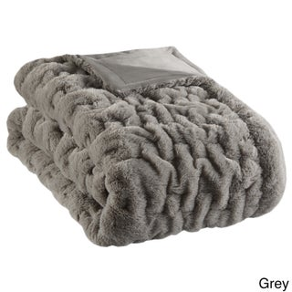 Madison Park Ruched Fur Solid Brushed Long Fur Knitted Throw (More options available)