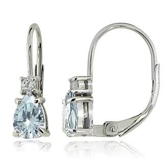 Glitzy Rocks Sterling Silver Aquamarine and White Topaz Teardrop Leverback Earrings - Blue