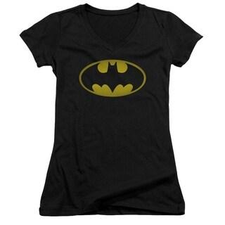 Women's 'Batman' Washed Logo Black Cotton Short-sleeve V-neck T-shirt