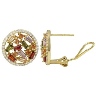 Luxiro Gold Finish Sterling Silver Baguette Cubic Zirconia Circle Earrings