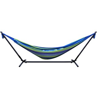 Srobus Striped Blue and Green Double Hammock and Steel Stand