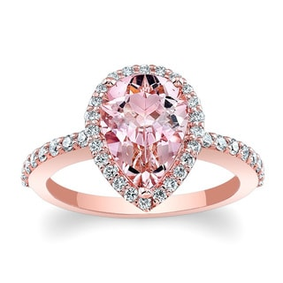 Barkev's 14k Rose Gold Morganite and Diamond Halo Engagement Ring (Option: 6.75)