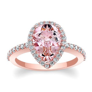 Barkev's 14k Rose Gold Morganite and 3/8ct TDW Diamond Halo Style Engagement Ring (F-G, SI1-SI2)
