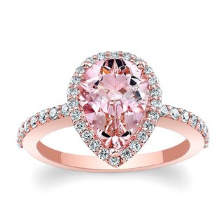 Barkev's 14k Rose Gold Morganite and Diamond Halo Engagement Ring (Option: 8.25)|https://ak1.ostkcdn.com/images/products/12705359/P19487287.jpg?_ostk_perf_=percv&impolicy=medium