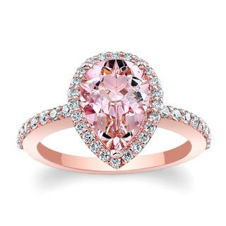 Barkev's 14k Rose Gold Morganite and Diamond Halo Engagement Ring (Option: 6.75)|https://ak1.ostkcdn.com/images/products/12705359/P19487287.jpg?impolicy=medium