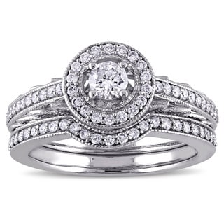 5/8ct TDW Diamond Vintage Halo Bridal Ring Set in 14k White Gold by The Miadora Signature Collection