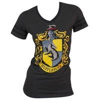 Harry Potter Juniors' Hufflepuff Grey Cotton/Polyester V-neck T-shirt