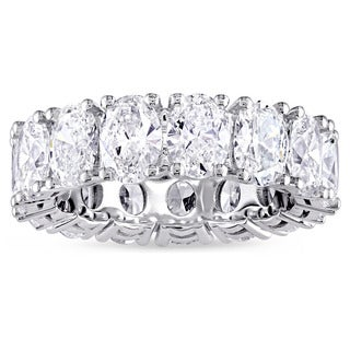 Miadora Signature Collection 18k White Gold 4 4/5ct TDW Oval-cut Diamond Eternity Ring