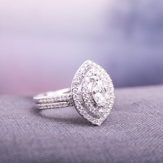 1ct TDW Marquise-Cut Diamond Double Teardrop Halo Bridal Ring Set in 14k White Gold by The Miadora S