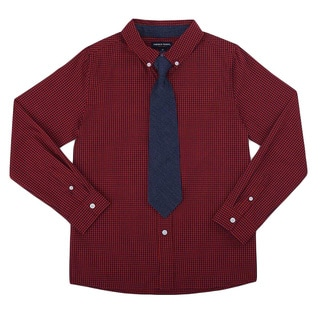 French Toast Boys' Plaid Poplin Button-down Shirt With Tie