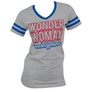 Officially Licensed Wonder Woman Juniors Grey Cotton/Polyester V-Neck T-Shirt