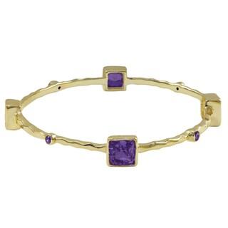 Luxiro Gold Finish Cubic Zirconia Square Hammered Bangle Bracelet