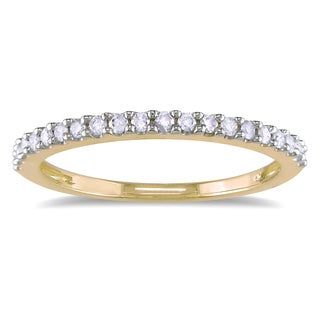 Miadora 10k Yellow Gold 1/5ct TDW Diamond Stackable Wedding Band