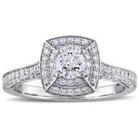 Miadora Signature Collection 14k White Gold 1ct TDW Diamond Cluster Double Halo Engagement Ring