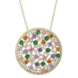 Luxiro Gold Finish Sterling Silver Multi-color Cubic Zirconia Circle Pendant Necklace