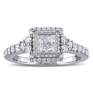 Miadora 1ct TDW Princess and Round-Cut Diamond Square Double Halo Engagement Ring in 14k White Gold (G-H, I1-I2)