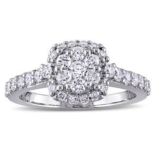 Miadora Signature Collection 14k White Gold 1ct TDW Diamond Flower Halo Engagement Ring