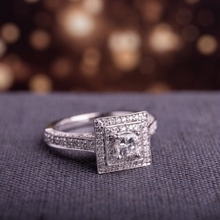 1-1/4ct TDW Princess and Round Diamond Square Double Halo Engagement Ring in 14k White Gold by The Miadora Signature Collection