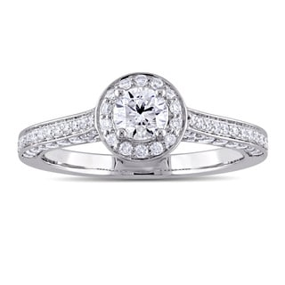 1ct TDW Round-Cut Diamond Halo Engagement Ring in 14k White Gold by The Miadora Signature Collection