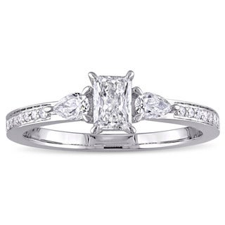 5/8ct TDW Round Pear and Octagon-Cut Diamond Engagement Ring in 14k White Gold by The Miadora Signature Collection