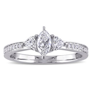 Miadora Signature Collection 14k White Gold 5/8ct TDW Marquise and Heart-Cut Diamond 3-stone Engagement Ring (More options available)