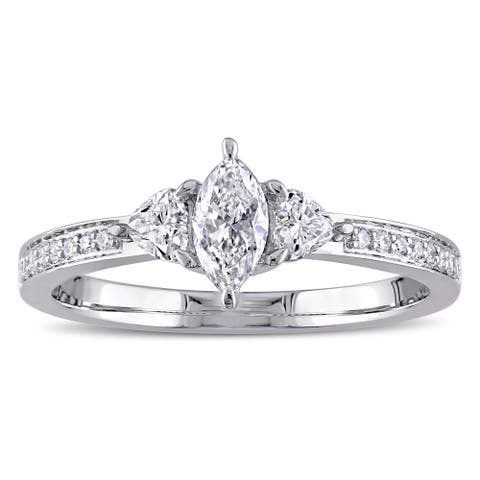 Miadora Signature Collection 14k White Gold 5/8ct TDW Marquise and Heart-Cut Diamond 3-stone Engagement Ring
