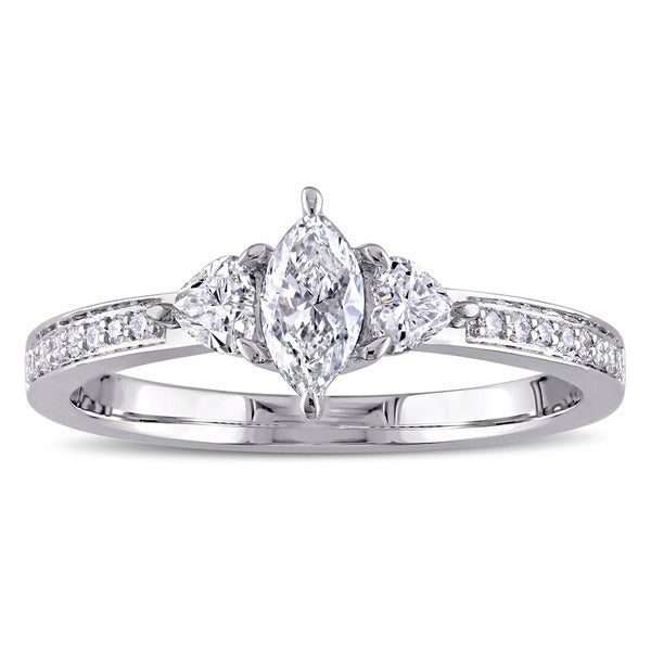 Miadora Signature Collection 14k White Gold 5/8ct TDW Marquise and Heart-Cut Diamond 3-stone Engagement Ring. Opens flyout.
