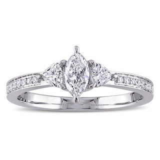5/8ct TDW Round Marquise and Heart-Cut Diamond 3-Stone Engagement Ring in 14k White Gold by The Miadora Signature Collection