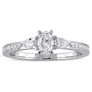 5/8ct TDW Oval Pear and Round-Cut Diamond Engagement Ring in 14k White Gold by The Miadora Signature Collection