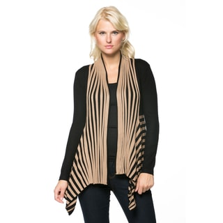 High Secret Women's Nylon Striped Open Front Cardigan