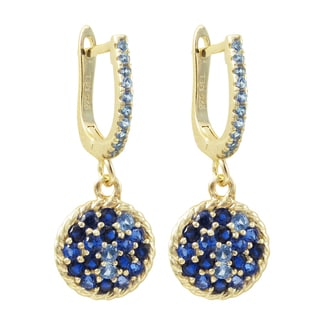 Luxiro Gold Finish Sterling Silver Lab-created Sapphire Circle Dangle Earrings