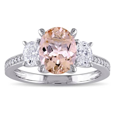 Miadora Morganite and 5/8ct TDW Oval and Round-Cut Diamond 3-Stone Engagement Ring in 14k White Gold (G-H, I1-I2) - Pink