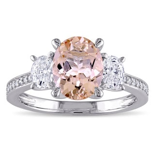 Miadora Morganite and 5/8ct TDW Oval and Round-Cut Diamond 3-Stone Engagement Ring in 14k White Gold (G-H, I1-I2)