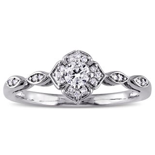 1/5ct TDW Diamond Floral Infinity Engagement Ring in 10k White Gold