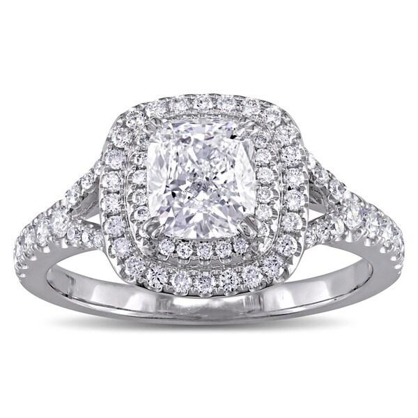 9d8d17079578df Miadora GIA Certified 1-5/8ct TDW Cushion-Cut Diamond Double Halo Engagement