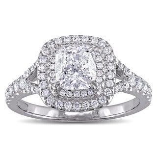 Miadora GIA Certified 1-5/8ct TDW Cushion-Cut Diamond Double Halo Engagement Ring in 14k White Gold (G-H, SI1-SI2)