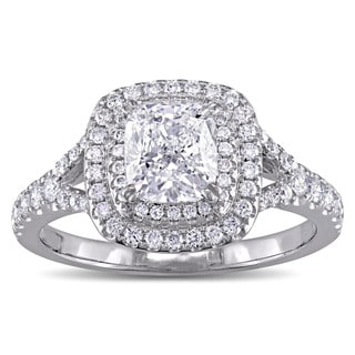 GIA Certified 1-5/8ct TDW Cushion-Cut Diamond Double Halo Engagement Ring in 14k White Gold by The Miadora Signature Collection