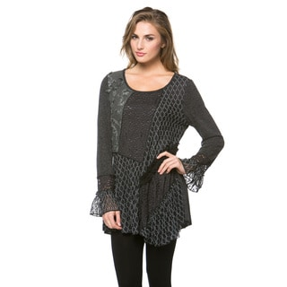 High Secret Women's Charcoal Polyester Tunic Top