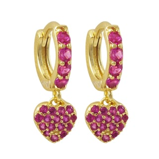 Luxiro Gold Finish Sterling Silver Pink Cubic Zirconia Heart Children's Huggie Earrings
