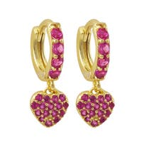 Luxiro Gold Finish Sterling Silver Pink Cubic Zirconia Heart Children's Clasp Earrings