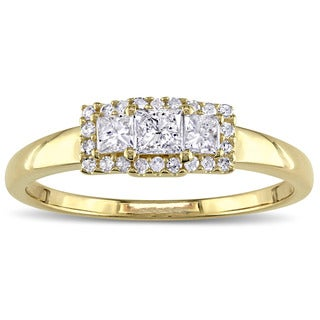 Miadora 10k Yellow Gold 1/2ct TDW Round and Princess-cut 3-stone Engagement Ring
