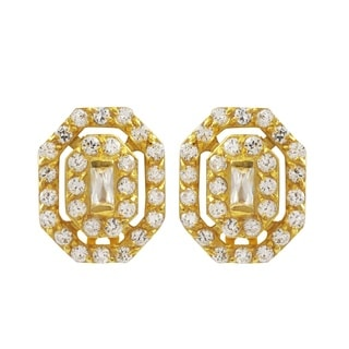 Luxiro Gold Finish Sterling Silver Pave Cubic Zirconia Octagon Earrings