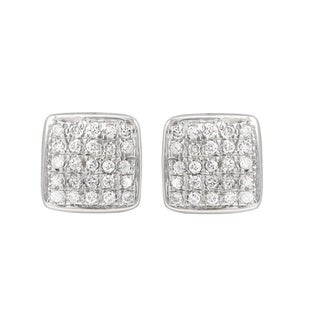 Luxiro Sterling Silver Pave Cubic Zirconia Square Stud Earrings