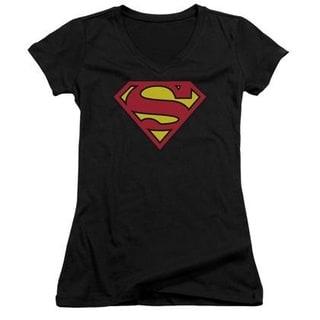 Superman Women's Classic Logo Black Cotton V-Neck T-shirt