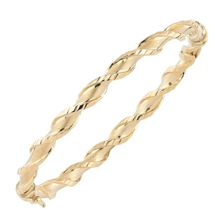 Fremada Italian 14k Yellow Gold Satin And Textured Finish Twist Bangle Bracelet