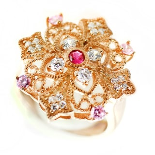 One-of-a-kind Michael Valitutti Cubic Zirconia, Created Pink Sapphire and Created Ruby Cocktail Ring