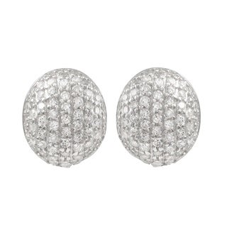 Luxiro Sterling Silver Pave Cubic Zirconia Ovoid Earrings